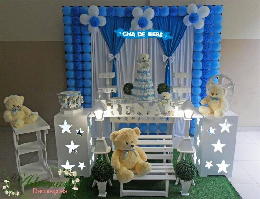 Decoração Chá De Bebê Azul E Marrom Mesas De Dulces Niño Cake