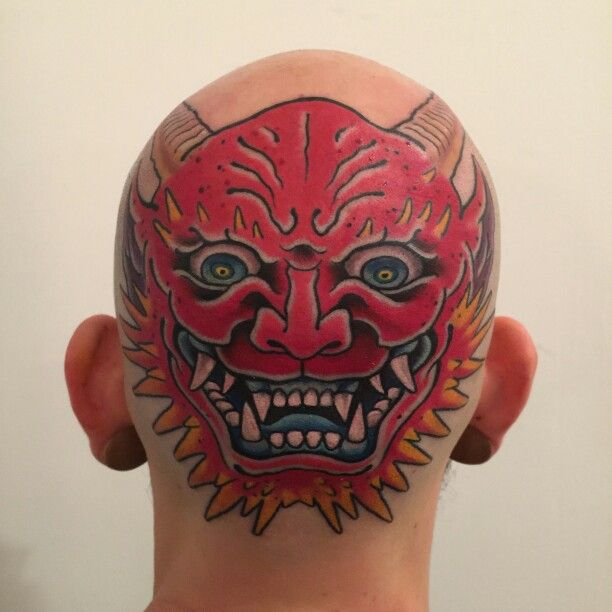 My Oni mask head tattoo