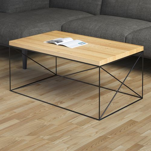 Coffee Table Scandinavian Design Metal Oak Hamburg Larger