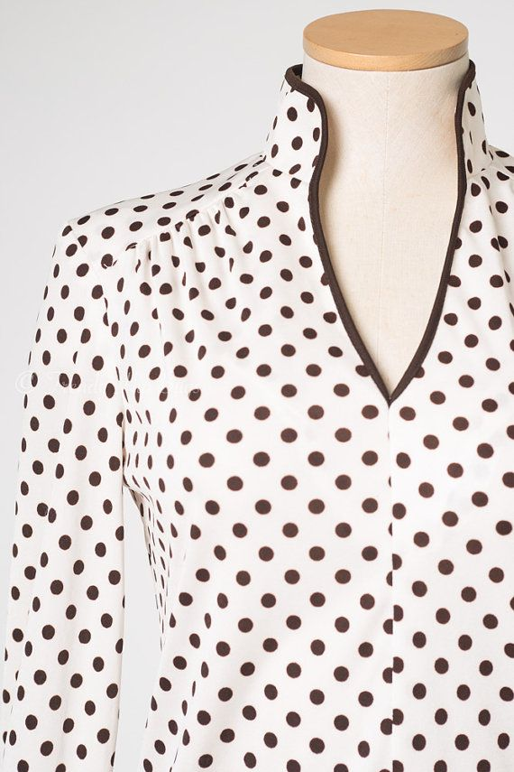Vintage Polka Dot Top Vintage Brown top by TrendyHipBuysVintage