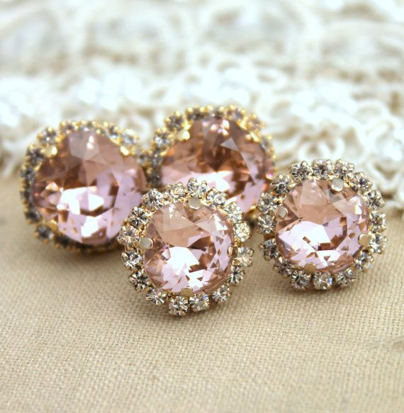 Swarovksi cushion cut Morganite pink crystal rose gold earrings