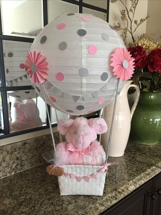 Hot Air Balloon Centerpiece For Baby Shower Girl Baby Shower