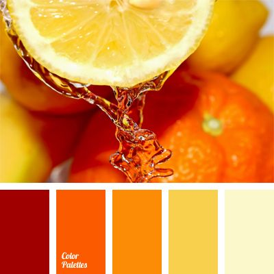 A bright palette that includes shades ranging from red-orange to pale  yellow creates orange