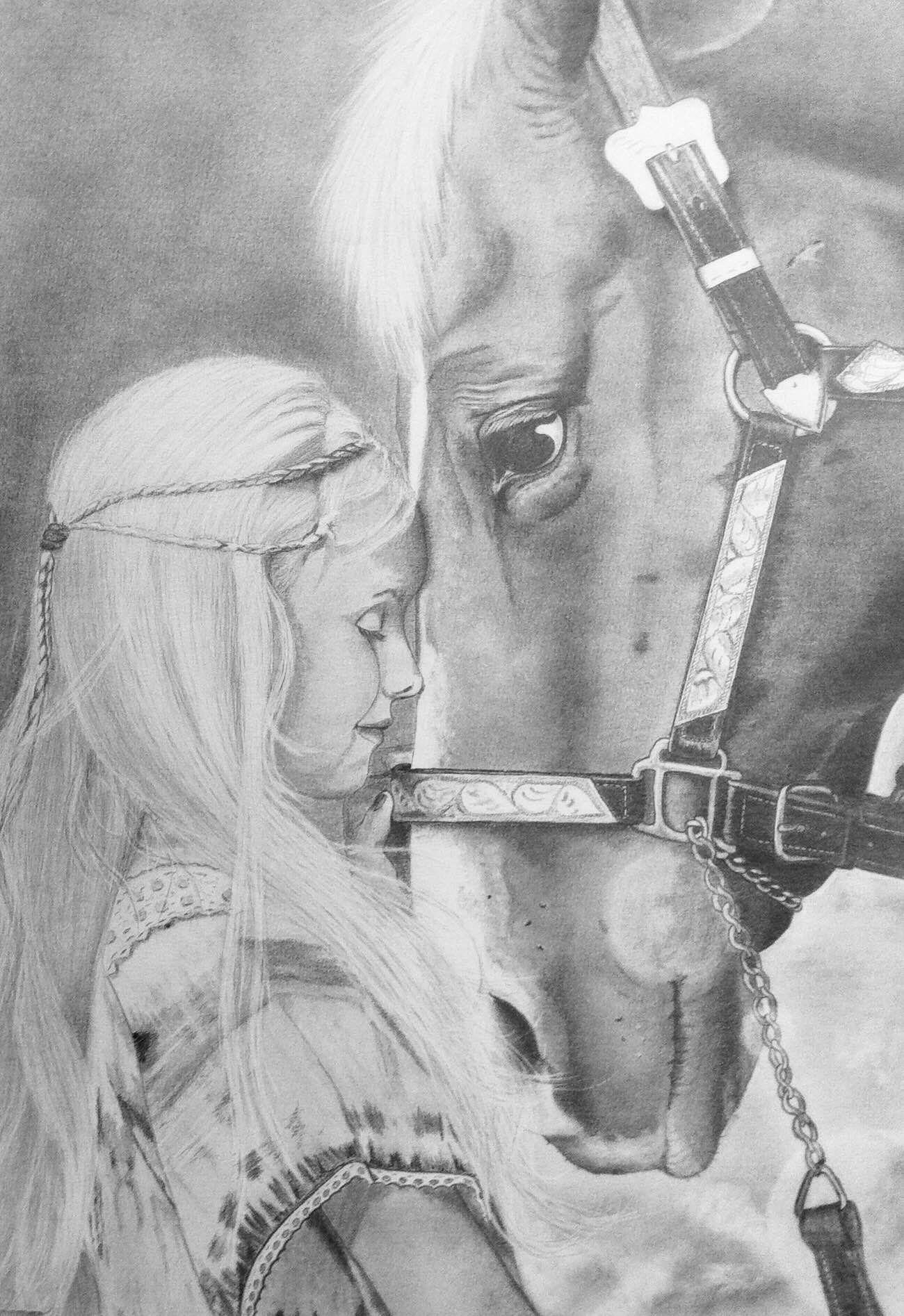mädchen mit pferd mit bleistift auf a3 gezeichnet drawing