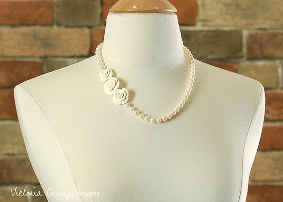 Pearl Wedding Necklace  Ivory Rose Bridal by VictoriaCampDesigns, $159.00