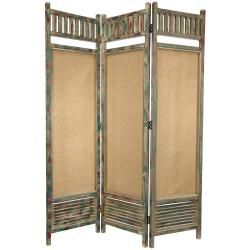 @Overstock - Rustic three panel folding screen featuring wood and fabric sections. Open top railing and wide lower slatted section surround long semi-transparent cotton fabric panels. Finished in an antiqued beige with accentuated blue and red distress marks.http://www.overstock.com/Worldstock-Fair-Trade/Distressed-Wooden-Railings-6-foot-Room-Divider-China/6666266/product.html?CID=214117 $268.00