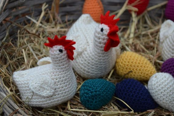 Crochet pattern  Easter chicken and eggs by vicarno on Etsy, €3.00
