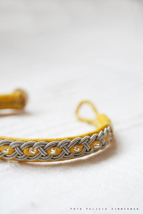 Handmade braided sami pewter bracelet Leather with pearls -Custom size