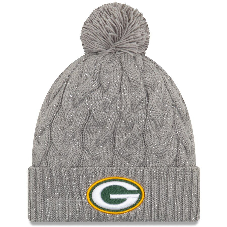 Women S Green Bay Packers New Era Gray Swift Cable Cuffed Knit Hat With Pom Knitted Hats Green Bay Packers Hat Green And Grey