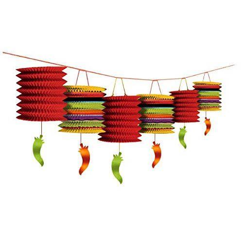12 Foot Long Colorful Chili Pepper Paper Lantern Garland