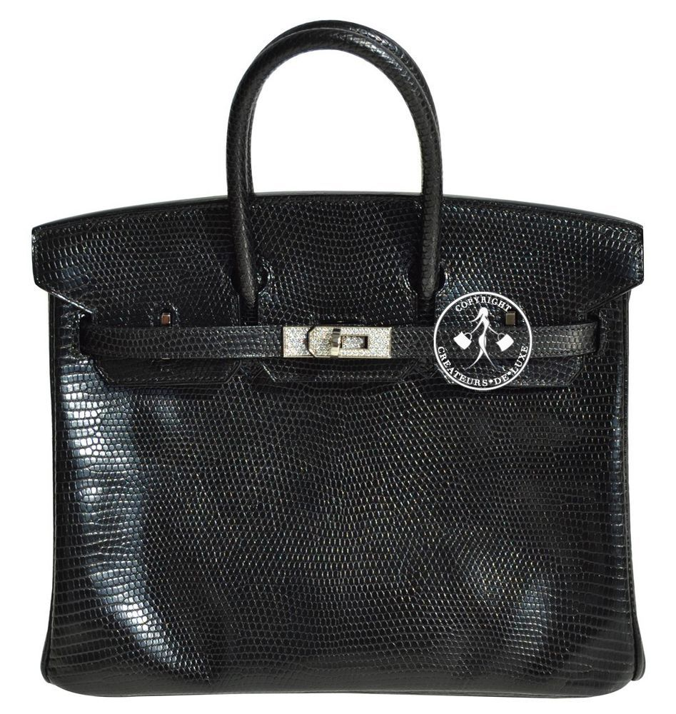 e775b61f6ef3 Hermès Black Lizard Birkin Handbag with White Gold Hardware and Diamonds -  Pre-Owned