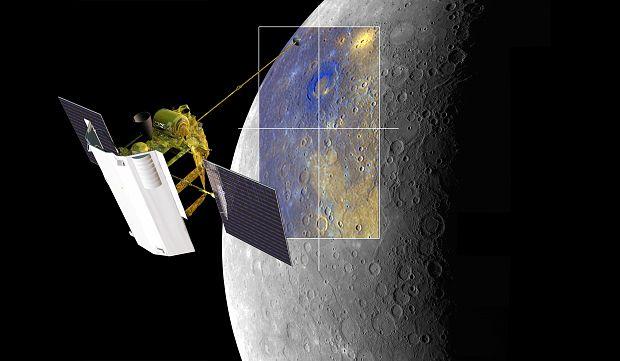 Artist's impression of MESSENGER imaging Rachmaninoff basin on Mercury.