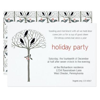 Rook and Holly Christmas Party Custom Invitation Custom