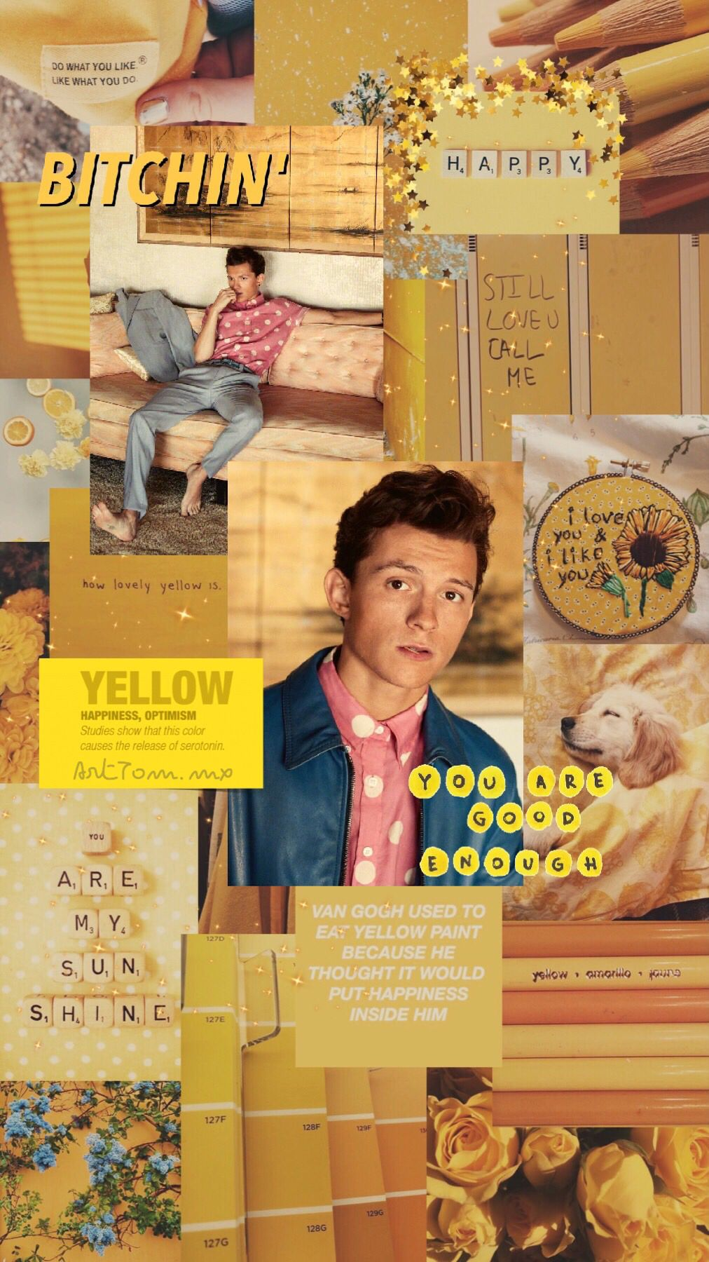 tomholland yellow aesthetic wallpaper background