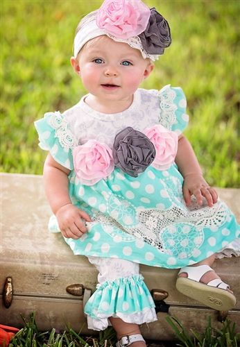 2a2678c1d5795 Haute Baby Vintage Dot Swing Set is a sweet and comfy outfits for your  little princess. Made from 100% cotton, it features lace, ruffles and  embellished ...