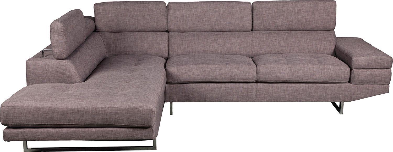 Zeke Linen Look Fabric Left Facing Sectional Platinum The Brick Sectional Sofa