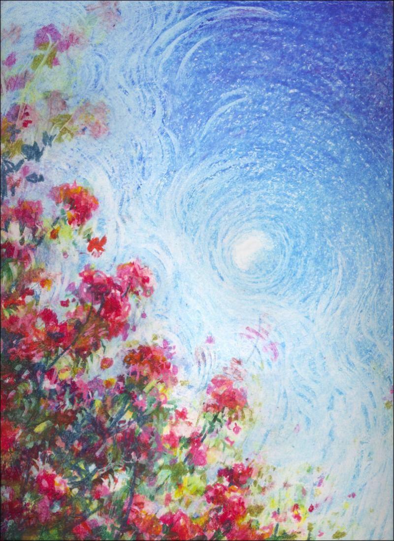Rainbow landscape original oil pastel drawing - Oil Pastel Ideas Oil Pastels Nikki Artwork