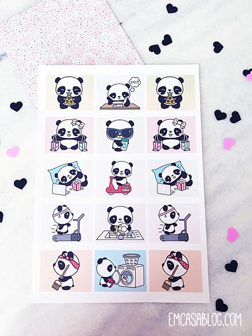 Em casa blog free printable panda planner stickers for Planner casa gratis