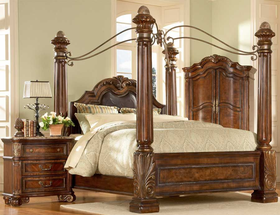 Big Post Bed King Size Queen Canopy Bed Ebay