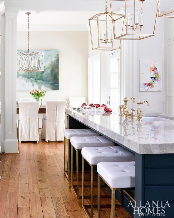 Floating Kitchen Island Designs: White & Brushed Gold Stool