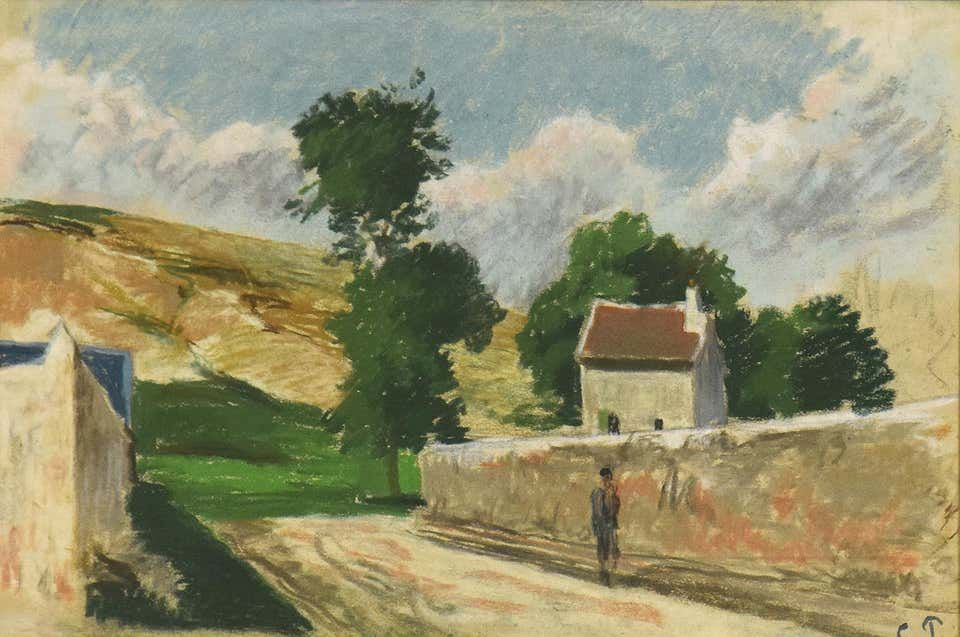 For Sale on 1stdibs - Une Rue à l'Hermitage, Pontoise by Camille Pissarro - Impressionist pastel, Pastel by Camille Pissarro. Offered by Stern Pissarro Gallery.