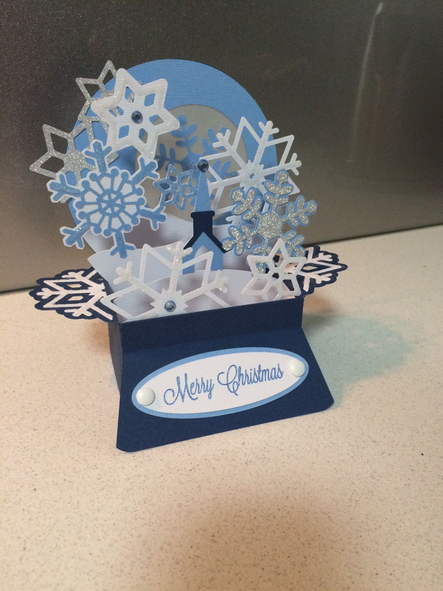 Snow globe box card. Pattern thanks to Svgcuts. Pop up