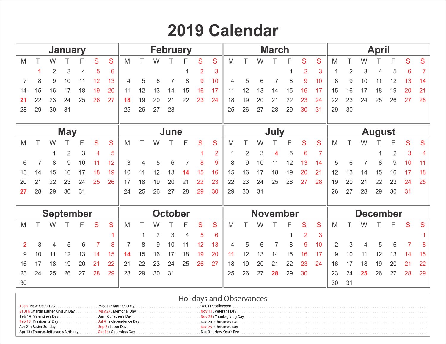 Free Printable 2019 Calendar With Uk Holidays.Blank Printable Calendar 2019 With Holidays Printableshelter