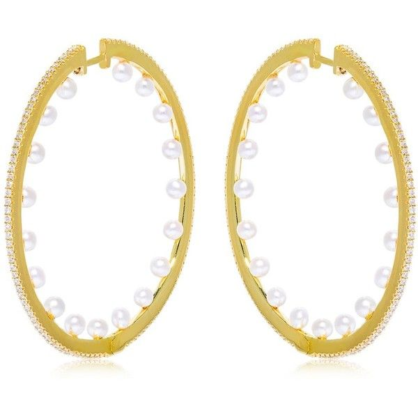 Apm Monaco Women Pearls Hoop Earrings 465 Liked On Polyvore Featuring Jewelry Gold Hinged White Pearl