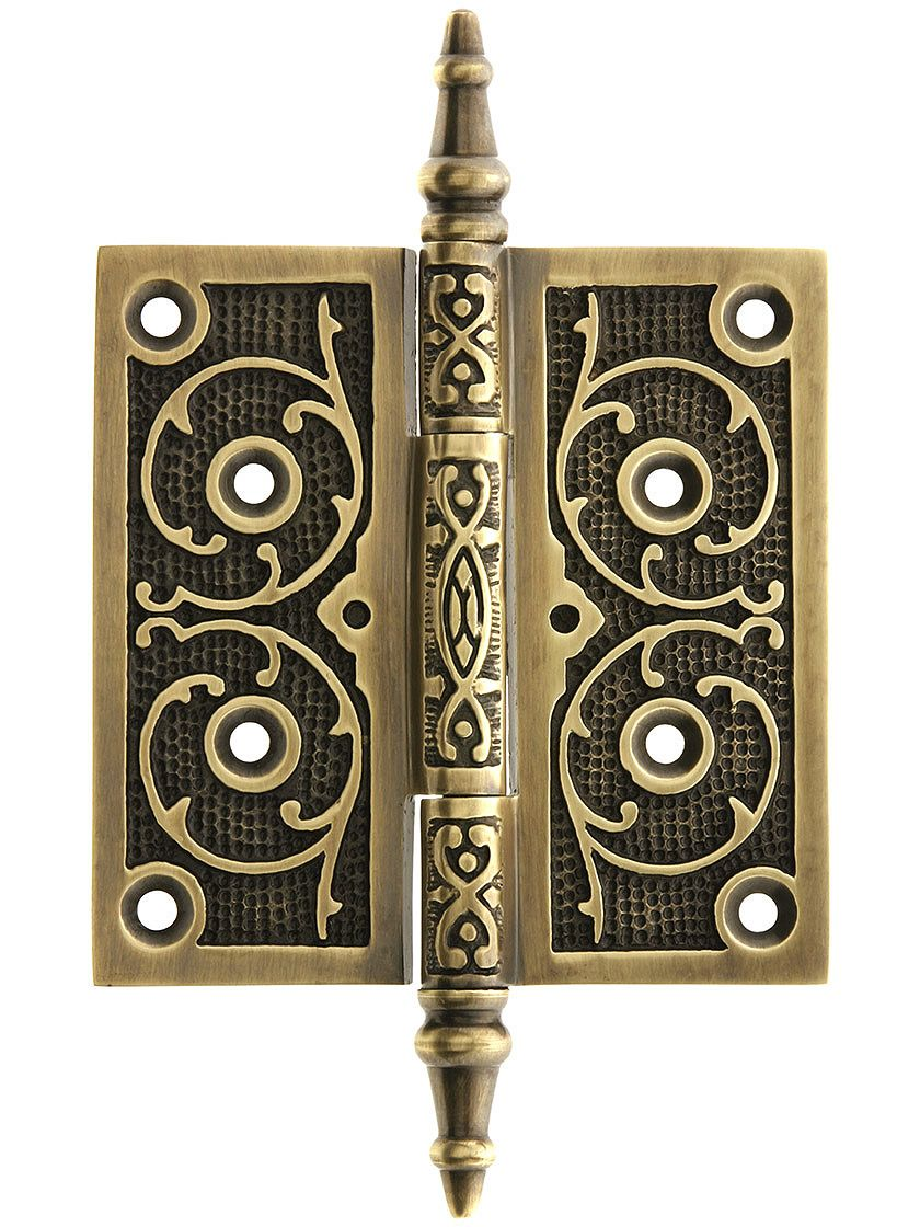 "4"" Solid Brass Steeple Tip Hinge With Decorative Vine"