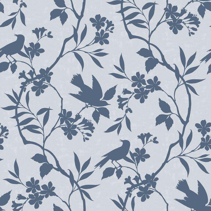 Birds in trees blue wallpaper tiles wallpaper tiles