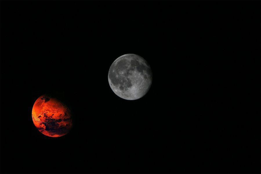 august 27 2015 moon and mars mars and moon 27 aug phenomen by