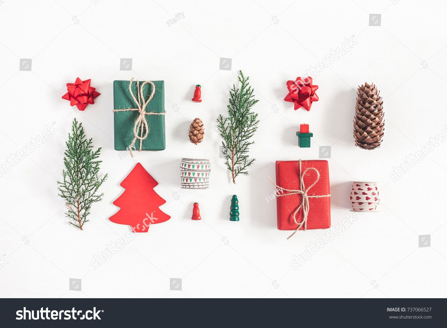 Christmas Top View.Christmas Composition Christmas Gifts Pine Branches Toys