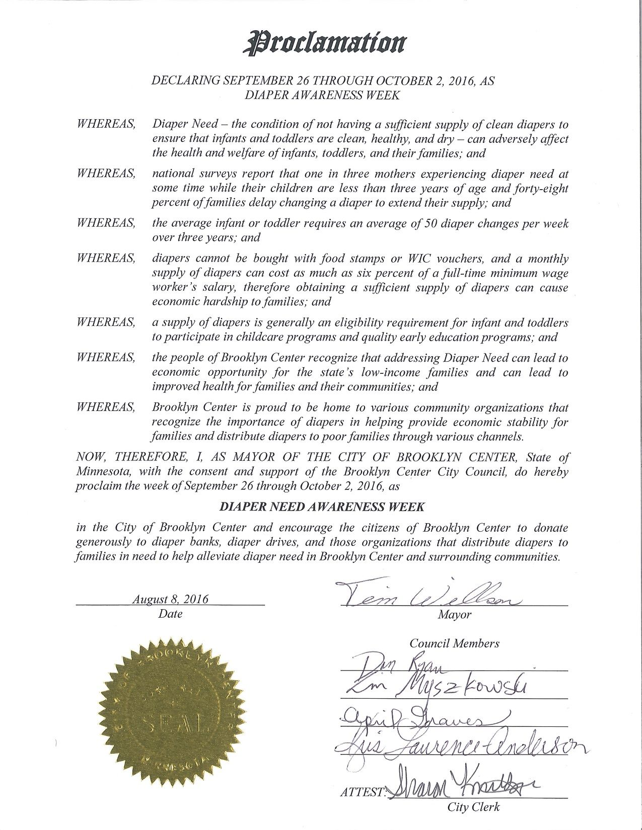 BROOKLYN CENTER, MN - Mayoral proclamation recognizing Diaper Need Awareness Week (Sep. 26 - Oct. 2, 2016) #DiaperNeed diaperneed.org