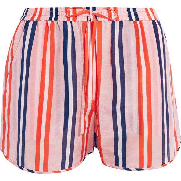 Striped Cotton And Silk-blend Shorts - Pastel orange Diane Von Fürstenberg u4esEJXV