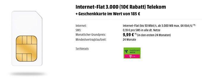 Internet Flat 3.000 für effektiv 4€ monatlich – Datentarif im Telekom Netz mit Mediamarkt Gutschein