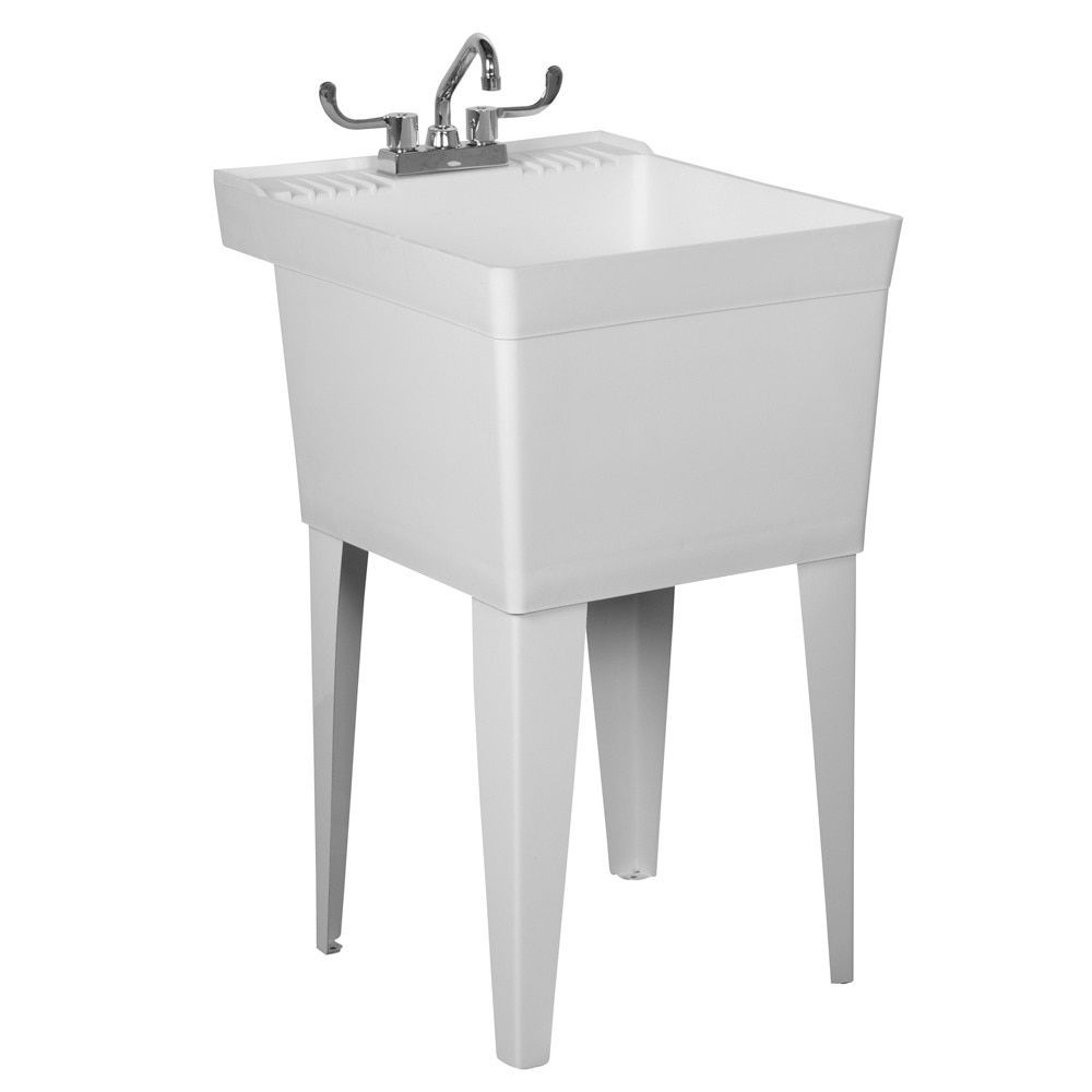 American Standard Fiat White Heavy Duty Laundry Tub With Faucet (White)