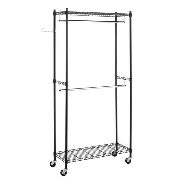 Portable And Expandable Garment Rack In Black Chrome 18 Months Impressive Rolling Garment Clothes Rack Double Rod Portable Closet Organizer 2