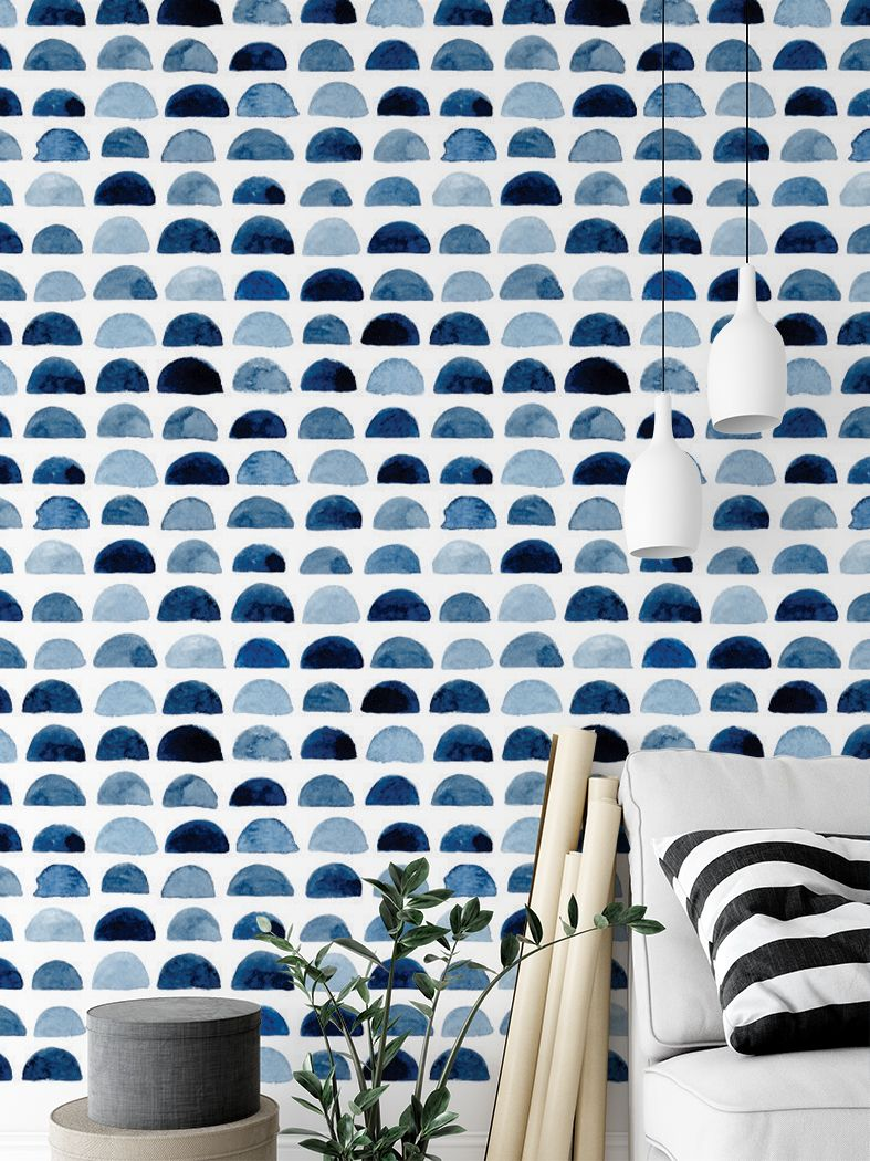 Blue Halfmoon Watercolour Removable Stick Peel Wall Mural Blue Watercolor Wallpaper Removable Wall Murals Removable Wallpaper
