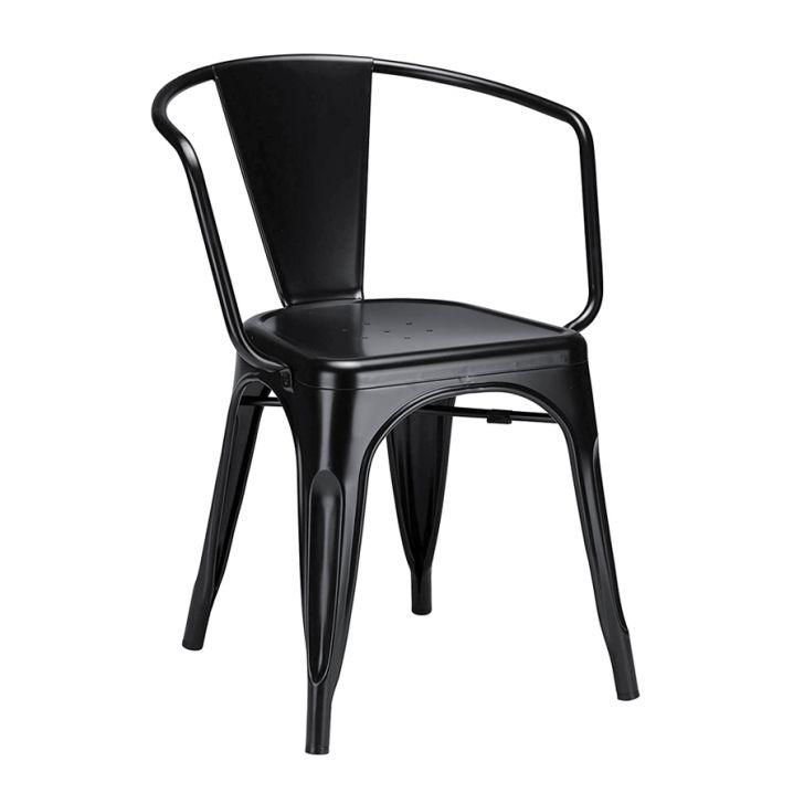 Cadeira Iron Tolix Com Bracos Industrial Aco Vintage Preto Cadeiras Cadeira Industrial E Lojas De Moveis Online
