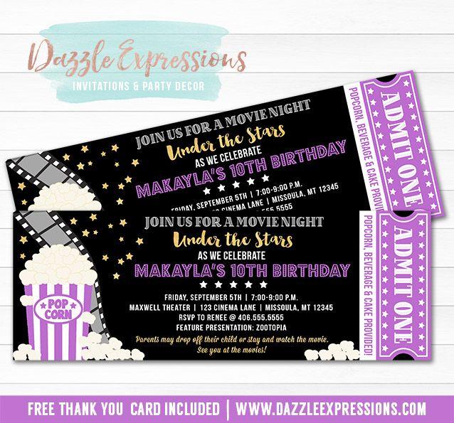 Printable Under the Stars Movie Ticket Birthday Invitation Movie - movie ticket invitations printable free