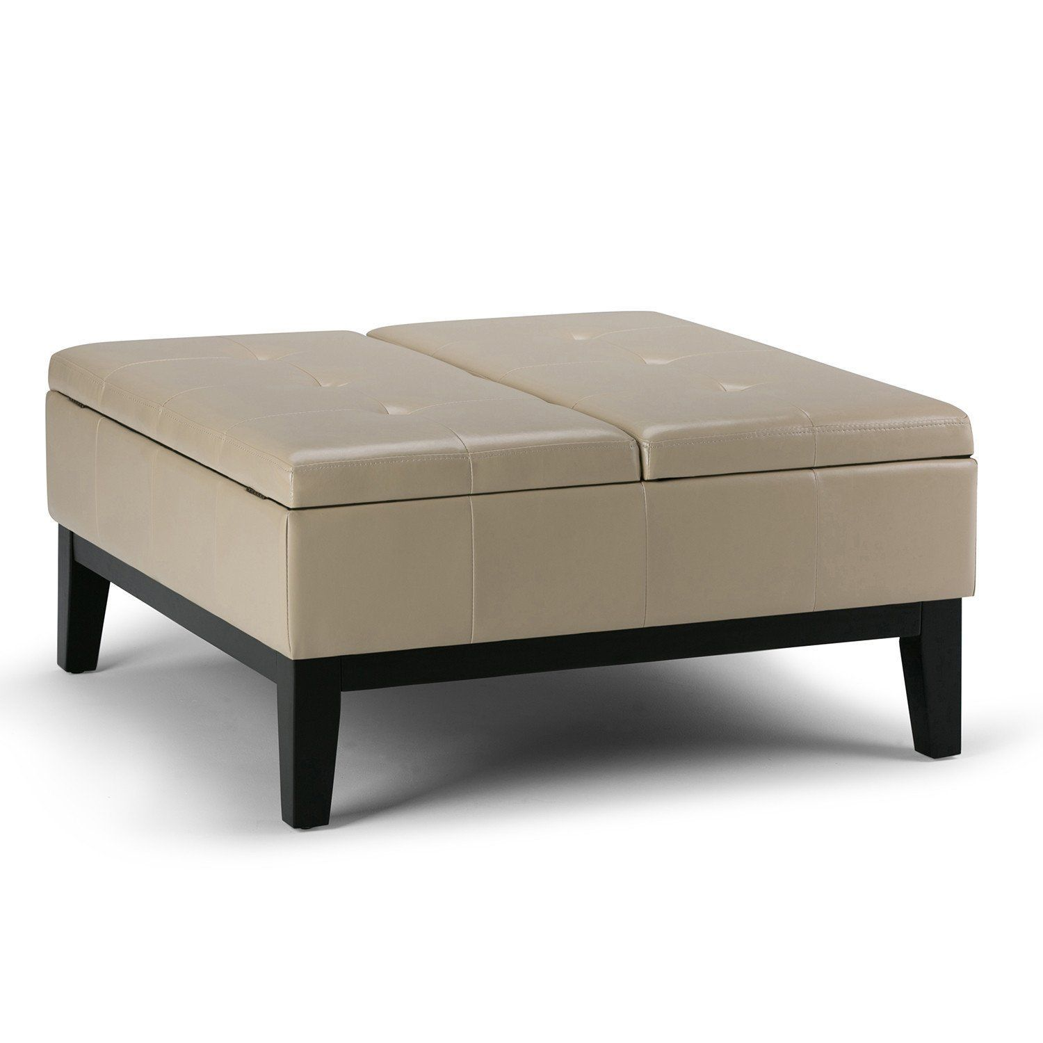 Dover Square Coffee Table Ottoman with Split Lift Up Lid