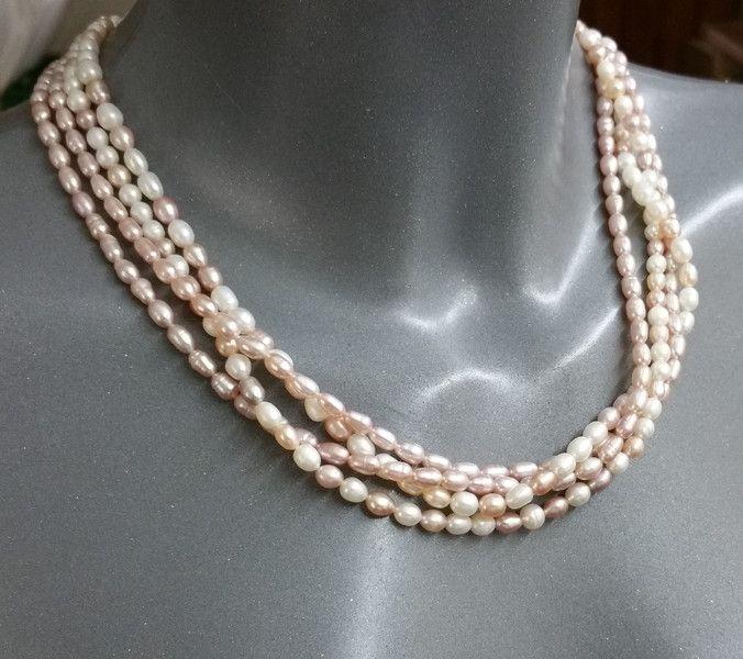 Vintage Halsschmuck - Perlenkette Süßwasserzucht weiß/rosa Vintage SK490 - ein Designerstück von Atelier-Regina bei DaWanda