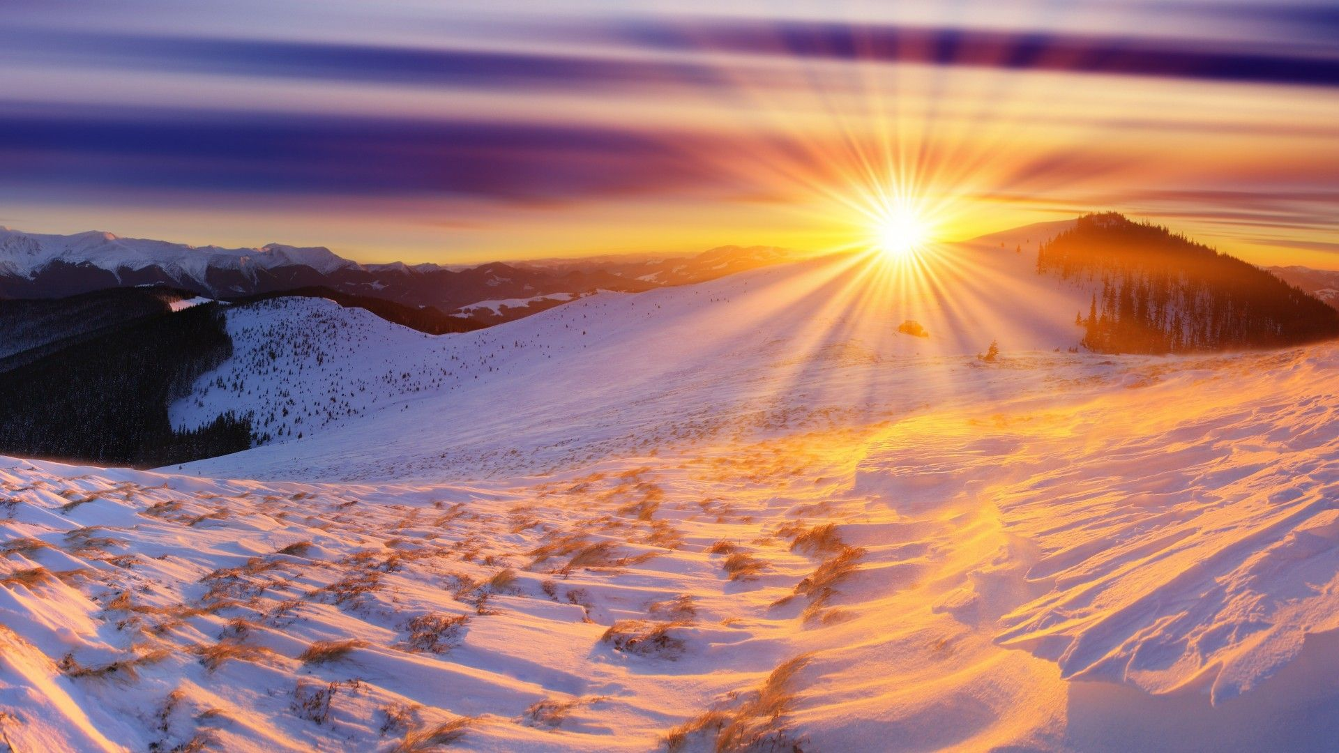 Nature Landscapes Mountains Snow Winter Sky Clouds Hdr Sunset