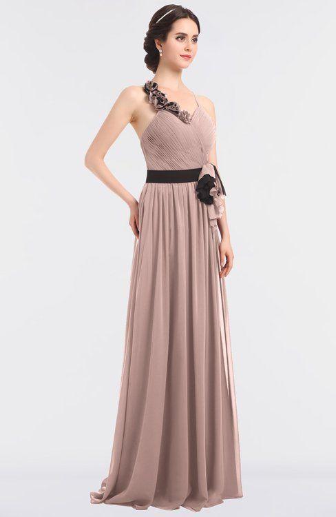 5ee191cde8cdf Dusty Rose Elegant A-line Halter Sleeveless Floor Length Flower Bridesmaid  Dresses