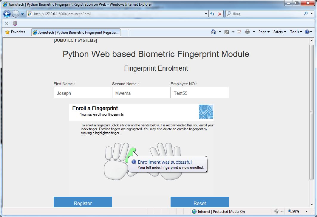 Python Web Biometric Fingerprint Registration   PYTHON WEB