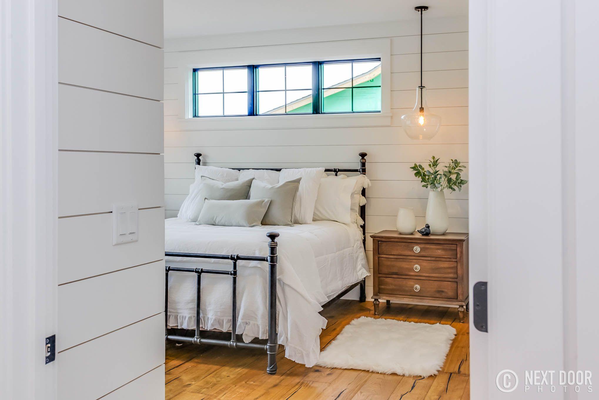 modern farmhouse, bedroom decor, shiplap, joanna gaines