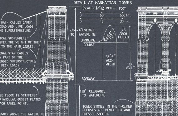 Brooklyn Bridge blueprints print  Vintage by FirstClassDesignCo - new blueprint plan company