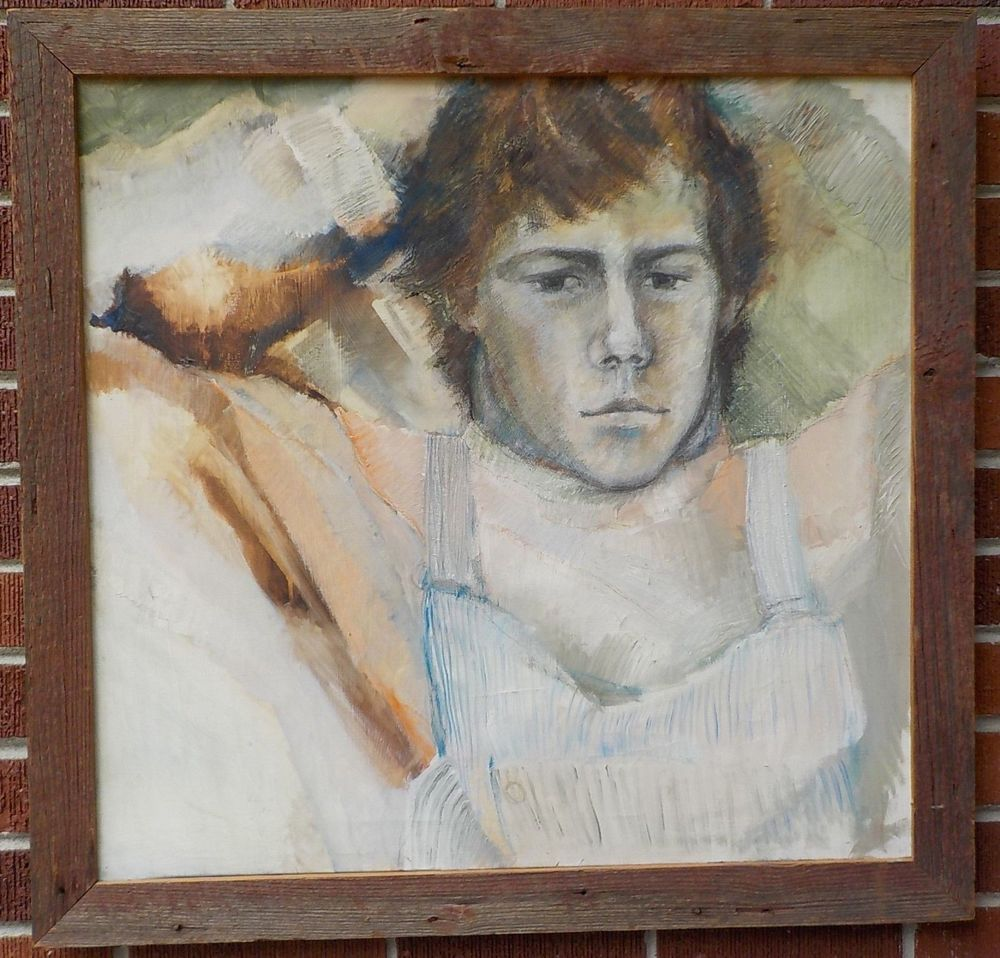 Vintage MODERN Handsome MAN Oil PORTRAIT Painting Rough
