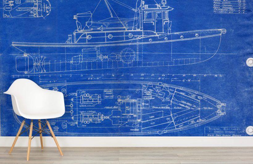 Blueprint Boat Wallpaper Wall Mural MuralsWallpaperuk Retro - fresh blueprint awards winners