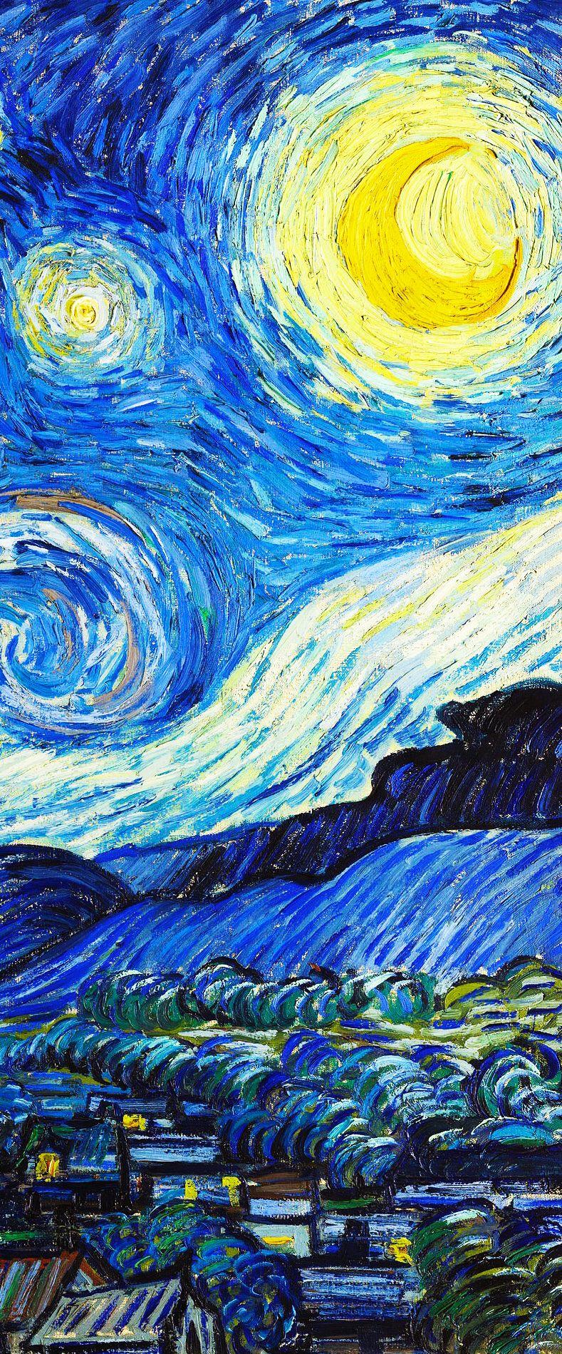 Vincent Van Gogh La Noche Estrellada Detalle 1889 Van Gogh Arte Fondo De Arte Fondo De Pantalla Pintura